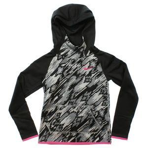 Nike Therma-Fit Printed Pullover Hoodie Black Pink